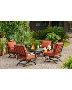 Amazing Deal on Hampton Bay Redwood Valley 5-Piece Patio Fire Pit Seating Set with Quarry Red Cushions