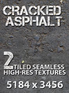 This pack contains 2 High resolution seamless textures. Fully all-sided tile bitmap. This is creacked, old asphalt road, like in z