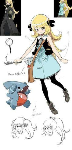 Rough concept of young Cynthia/Shirona, the Pokemon archeologist. Pokemon People, All Pokemon, Pokemon Fan Art, Pokemon Games, Pokemon Trainer Outfits, Pokemon Cynthia, Pikachu, Pokemon Champions, Pokemon Special