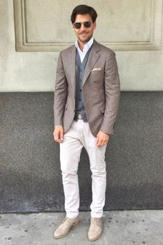 I would wear this a man because it is very classy for a job interview and just the right kind of outfit to give off a professional looking vibe .