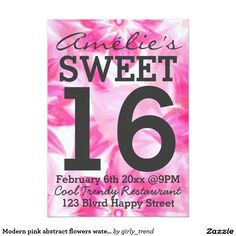 Modern pink abstract flowers watercolor Sweet 16 5x7 Paper Invitation Card by Girly Trend