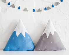 Snowy Mountain shaped Cushion / Pillow - made from wool blend felt FREE SHIPPING to U.K ! on Etsy, $60.73 AUD