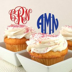 """Monogram Initials Personalized Cupcake Topper (set of 12). Make your cupcakes look """"top notch"""" with our Monogram Initials Cupcake Toppers! They're a unique way to incorporate a classic, customized touch to any dessert table! These reusable toppers are great for engagement parties, bridal showers, groom's cakes, wedding receptions, graduation parties, and so much more. Top off some sweet treats by sticking them in muffins or doughnuts! Scatter them throughout a fruit plate or stick them in…"""