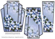 Art Deco Christmas Stacker Topper - Blue Poinsettias