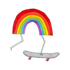 i wish i could skateboard...second best is tattoo of skateboarding rainbow by tattly.