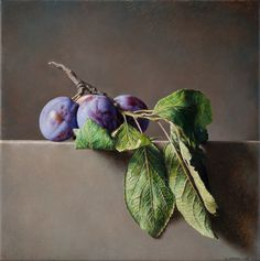 Tralcio di Susine - 2016 olio su tavola cm 25x25 © Gianluca Corona