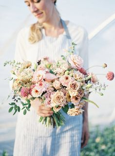 DIY Garden Inspired Wedding Bouquet in blush colors. Flowers grown and designed by Floret | photo by Heather Payne