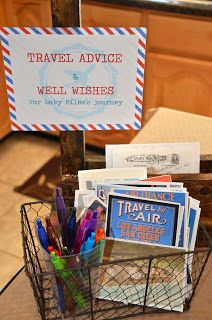 Adventure Is Out There!: Amber's vintage travel and airplane baby shower. Guest write wishes on postcards to new baby.