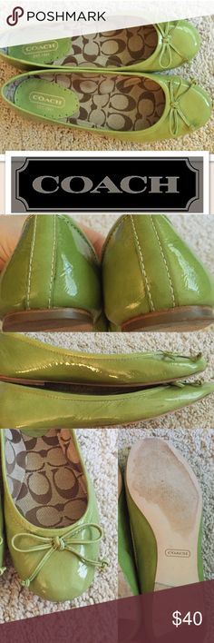 """Coach green patent leather ballet flats bow 6.5 7 These shoes are in fantastic shape. There is just one smudge that's quite small and you can see it in picture number 2. Other than that the only """"flaw"""" is that I cannot read the size on the inside label. The insole measures 9 5/8"""". As near as I can tell that would fit somewhere between 6.5 and 7. My advice is to measure from toe to heel inside flats that fit for comparison. Coach Shoes Flats & Loafers"""