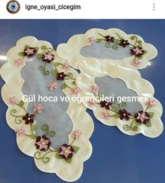 Ribbon Work, Table Runners, Decorative Plates, Handmade, Mavis, Jewelry, Instagram, Towels, Feltro
