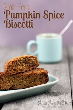 Recipe for Grain Free Pumpkin Spice Biscotti.  These are GAPS, paleo and primal diet friendly.