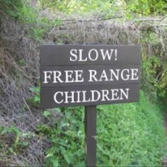 Slow! Free Range Children    I like my eggs from free-range chickens.  I like my meat from pastured animals.  We all need to be raised outdoors.  We need daily experiences with the complexity of natural diversity.