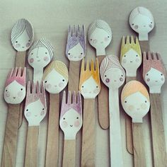 A crowd of hand painted spoons and forks Wooden Spoon Crafts, Wooden Spoons, Painted Spoons, Hand Painted, Painted Faces, Diy For Kids, Crafts For Kids, Art Projects, Projects To Try
