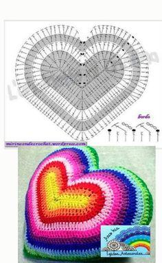 Corazón a ganchillo Knitting ProjectsKnitting HumorCrochet Hair StylesCrochet Stitches Crochet Cushion Cover, Crochet Pillow Pattern, Crochet Diagram, Crochet Chart, Crochet Motif, Crochet Stitches, Crochet Doilies, Crochet Cushions, Crochet Home