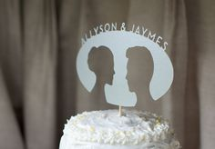 Diecut Silhouette Oval Cake Topper with Names  FREE by liddabits, $39.99