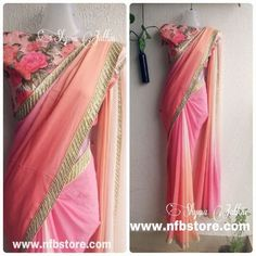 Semi pure shaded Georgette saree with Pure Raw Silk Blouse mt. Indian Attire, Indian Ethnic Wear, Indian Dresses, Indian Outfits, Desi Clothes, Indian Clothes, Simple Sarees, Stylish Sarees, Saree Dress