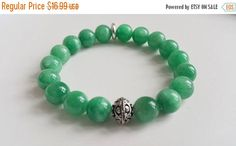 TODAY SALE Green Jade and Antique Silver Bead by Jenalynscreations
