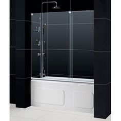 @Overstock - Modernize your bathroom with this sleek frameless tub door. The completely frameless glass design of this tub door features one sliding door and two stationary panels. Inside youll find two integrated glass shelves to place your bathing items.http://www.overstock.com/Home-Garden/DreamLine-MIRAGE-56-60-x-58-Frameless-Tub-Door/6756630/product.html?CID=214117 $599.99