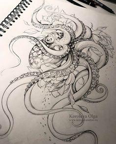 , #octopustattooblackwork