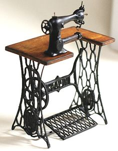 Miniature Antique Sewing Machine on Stand