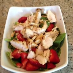 phase 1 lunch..chicken spinach strawberries...with a little apple cider vinagar..YUMMY                                                                                                                                                                                 More
