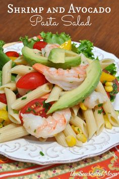 Shrimp and Avocado Pasta Salad is an easy, healthy, and fresh make-ahead side dish or entree for picnics, potlucks, cookouts, lunch, or dinner!