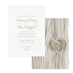 Faux Bois Invitation.  Sweet for a country wedding