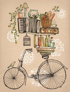 balance society6 drawing quirky simple bicycle