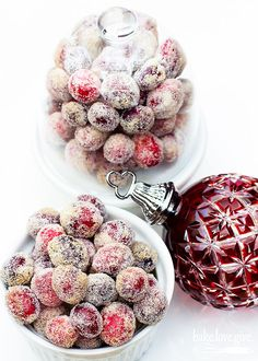 boozy sparkling cranberries - Brown sugar and Crown Royal Maple turn traditional candied cranberries into boozy bites of holiday spirit.