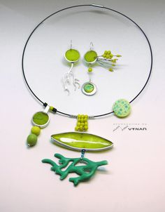 Yellow green Contemporary jewelry set by byMariannaVynar on Etsy