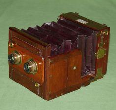 George Hare Stereo Tailboard Camera Mahogany Brass Wood circa 1875