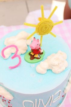 """My daughter loves Peppa Pig, so I planned a Peppa Pig Birthday party. Her favorite episode is called """"Golden Boots"""" so I used that episode for my planning. Third Birthday Girl, Pig Birthday, Birthday Parties, Birthday Cakes, Birthday Ideas, Sun Cake, Pig Party, Project Nursery, Birthdays"""
