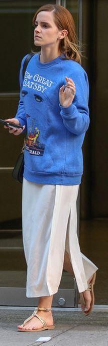 Who made Emma Watson's blue print sweatshirt, white dress, jewelry, black handbag, and brown flat sandal that she wore in New York on August 15, 2013? Sweatshirt – Out of Print  Purse – Louis Vuitton  Jewelry – Jack Vartanian  Shoes – K. Jacques  Dress – J Brand
