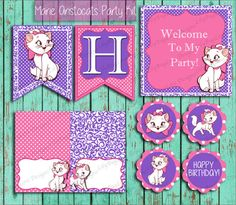 Marie Aristocats Party Decorations! Ready Pack Marie from the Aristocats by LilyBugLoveDesigns on Etsy Hello Kitty