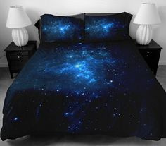 Anlye Modern Bedding Set 2 Sides Printing The Navy Blue Star Bed Linen With 2 Silk-Like Pillow Cases For Home Decorating King *** Instant discounts available  : Decorative Pillows