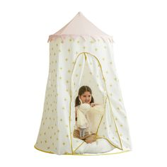 Pop-Up Playhouse, Gold Starburst - Wonder & Wise by Asweets Pretend Play, Play Tents & Vanities | Maisonette Wood Playhouse, Girls Playhouse, Pop Up Play, Teepee Play Tent, Tent Design, Holiday Pajamas, Rose Garland, Play Spaces, Creative Play