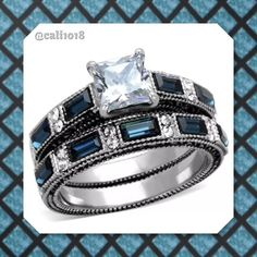 New 2PC Blue CZ 3.45CT Wedding Ring Set Metal: Stainless Steel Material: Cz Sizes Avail: 6, 7, 8 Finish: High Polish Type : Engagement & Band Main Stone: Cubic Zirconia Stone Shape: Princess Stone Size: 6 x 6 mm Stone Carats: 3.45TCW Boutique Jewelry Rings