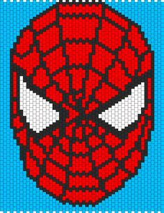 Spiderman Face by XXxemo_angelxXx on Kandi Patterns Pony Bead Patterns, Kandi Patterns, Peyote Patterns, Beading Patterns, Spiderman Pixel Art, Spiderman Face, Cross Stitch Designs, Cross Stitch Patterns, Spiderman Blanket