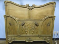A14-97 FINELY CARVED ART NOUVEAU BED