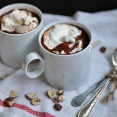 Hazelnut Hot Chocolate with Minted Whipped Cream from Turntable Kitchen