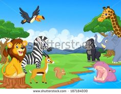 Cute African Safari Animal Cartoon Characters Scene Stock Vector ...
