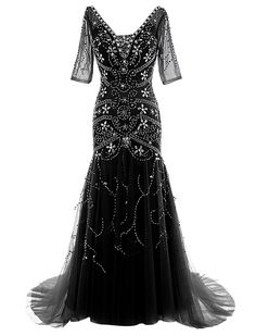 Dressystar V Neck Long Beaded Wedding Dress Mermaid Ball Gown with Sleeves Size14 Black