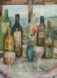 Wine art oil paintings feature your favorite wine labels embedded into the actual oil painting. You provide your labels and I create the painting around them. Wine Art, Art Oil, Painting, Painting Art, Paintings, Paint, Draw, Oil On Canvas, Oil Paintings