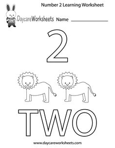 This free printable worksheet helps preschoolers learn the number two by coloring in the number, the corresponding image, and the word two. Preschool Homework, Preschool Number Worksheets, Teaching Numbers, Numbers Preschool, Tracing Worksheets, Preschool Learning Activities, Preschool Books, Free Preschool, Preschool Lessons