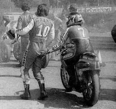 Barry Sheene grabs a handful of Mick Grant. : )