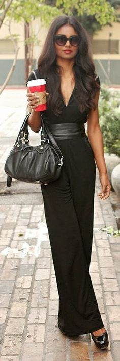 I love jumpsuits! Black Chic Jumpsuit by Tuolomee Women's street style chic fashion outfit Look Fashion, Spring Fashion, Womens Fashion, Fashion Design, Fashion Trends, Street Fashion, Fashion Shoes, Style Work, Mode Style