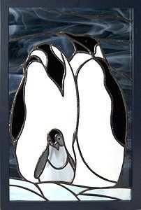 penguin family stained glass