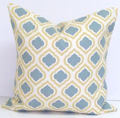 GRAY YELLOW PILLOW.26x26 inch.Pillow Cover.Printed Fabric Front and Back.Yellow and Slate Gray.Grey.Ikat. Pillow.Cm.Cushion Cover