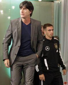 Coach Joachim Löw & Philipp Lahm (background) - Germany soccer team