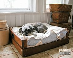 Rustic Farmhouse Grain Sack Style Pet Bed with Plans & Tutorial by Prodigal…